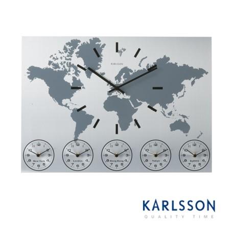 KA5069-World Time Aluminium Wall Clock