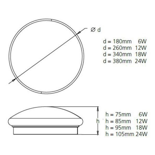 Syl Circle 380 40 Led Ceiling Lamp 24w Led 4000k 米白光 Ip44