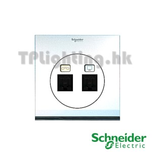 schneider ulti 2 gang tel and data socket rj45 cat6 -udc32td_xpw