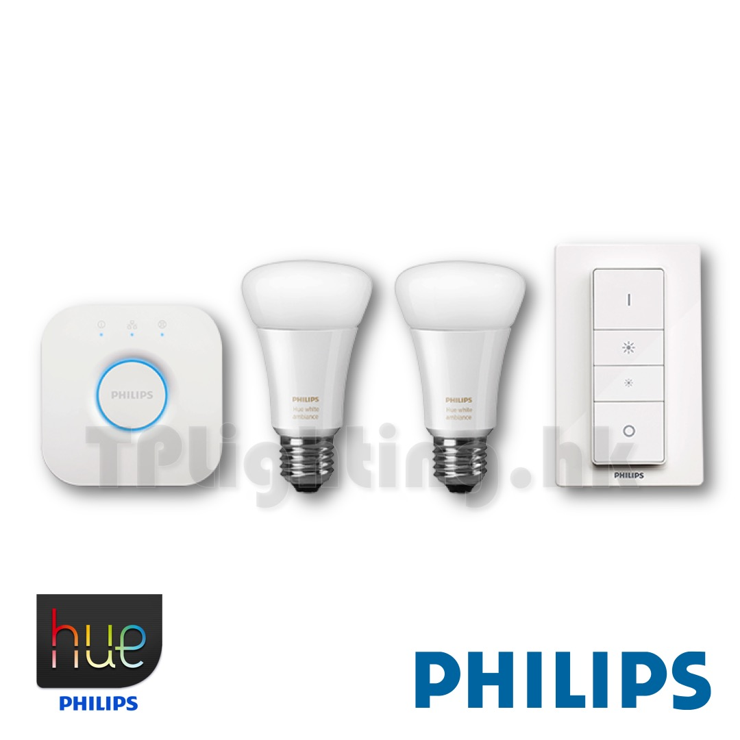 philips hue 2 0 9 5w led x2 e27 22k 65k starter kit with dimmer switch wifi bridge. Black Bedroom Furniture Sets. Home Design Ideas